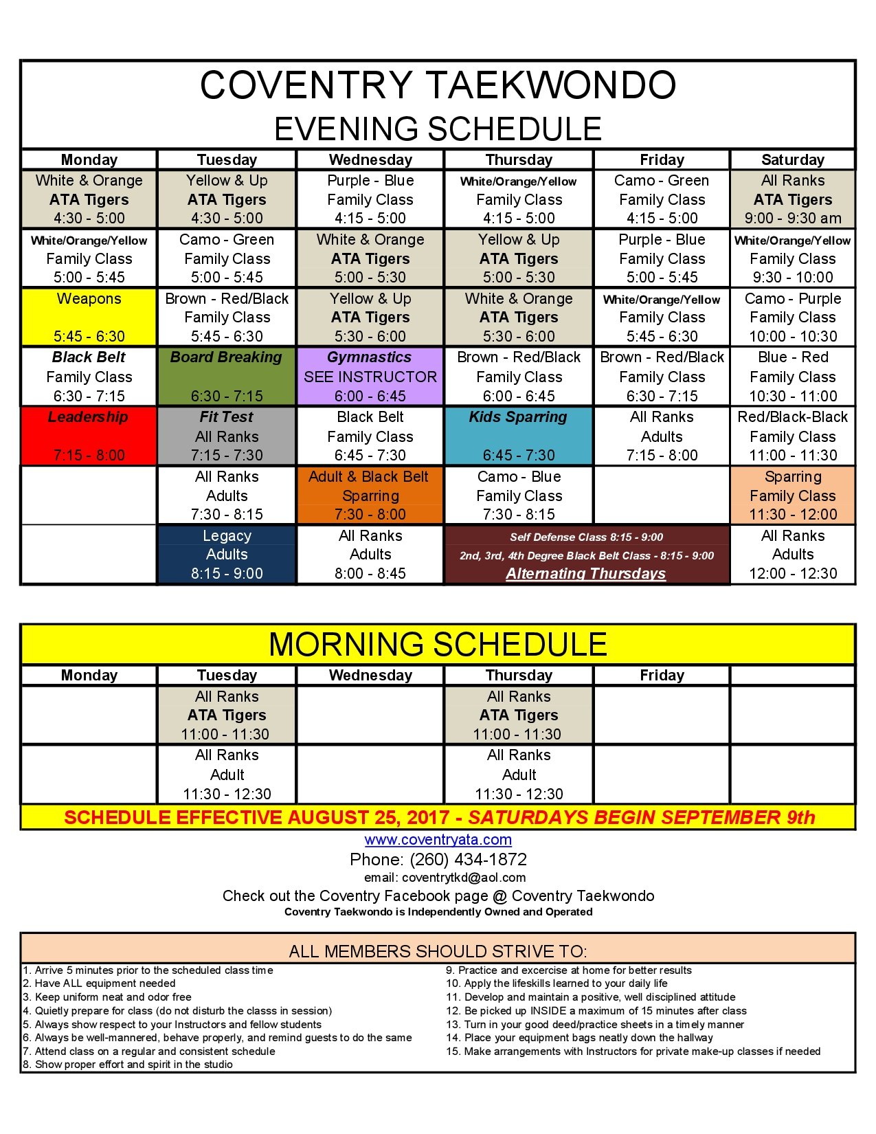 make your class schedule