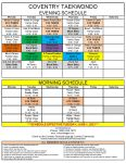 Coventry Summer Schedule